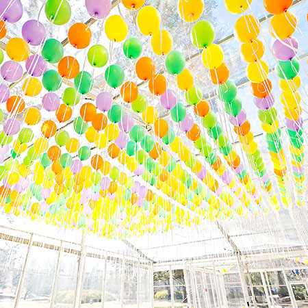 Hundreds of balloons in a tent